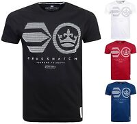 Mens Crosshatch Designer Short Sleeved T-Shirts 100% Cotton Crew Neck Casual Top