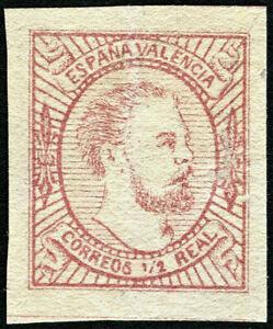 ESPAÑA 1874. Carlos VII. 1/2 real rosa. Nuevo(*). Edifil 159 (Tipo I).