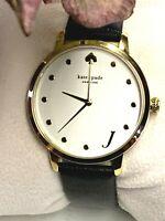 NWT Kate Spade KSW9009 Metro Monogram J Leather Strap Women's Watch MSRP $195