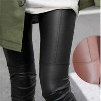 Women High Waist Leggings Stretchy Faux Leather Trousers Slim Pencil Pants SB