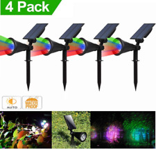 4PACK LED Solar Spotlights RGB Color Garden Outdoor Path Landscape Wall Lamps US