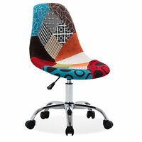 Armless Mid-Back Task Office Chair Height Adjustable Swivel Linen, Multi Color