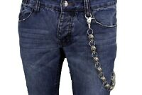 Biker Thick Silver Heavy Metal Long Wallet Chunky Chains KeyChain Skeleton Skull