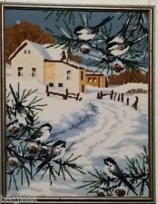 Finished Needlepoint Farm Framed Chickadees Winter Snow Completed Wool 16x12