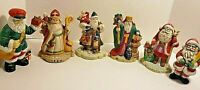 6 Ceramic Hand Painted Santa Figurines Around the World Collections