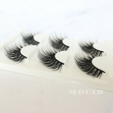 Hot 3 Pairs Black Faux Mink Natural Cross Long Thick Eye Lashes False Eyelashes