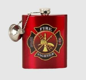 Spoontiques Firefighter Stainless Steel Flask, 7 Ounce, Red