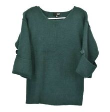 A New Approach a.n.a Women's S 3/4 Roll Tap Sleeve Knit Sweater Solid Dark Green