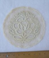 "French Antique Handmade Normandy Lace Rose Embroidery Insert~8 1/2"" Round"