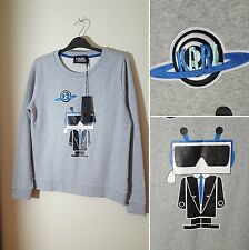 NWT RRP €165 Karl Lagerfeld Size M Grey Robot Embroidered Sweater Jumper 10 12