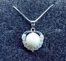 Sterling silver Sea Shell Pearl Heart Cubic Zircon Pendant Necklace Gift Box K39