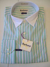 Barbour  Redcar 100% Cotton White Collar Striped Sport Shirt NWT Large $129