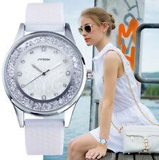 Sinobi reloj watch cuarzo quartz mujer lujo blanco con cristales y dial nacarado