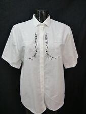 Gr.40 Trachtenbluse weiß Bluse Gede Baumwollmischung mit Stickerei TB6468