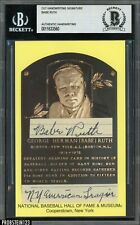 """Babe Ruth Signed HOF Plaque Postcard """" NY American League """" BAS AUTO 1/1 Yankees"""