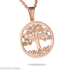 5 Pendentif Acier inoxydable L'arbre de Vie Strass Homme Personnalisé Rose d'or