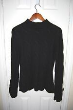 EDDIE BAUER Women's Black Cable Knit Turtleneck Sweater SIZE S