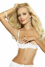 """Sexy Open Quarter Cup Underwire White Shelf Bra by Dreamgirl - 34"""" - New/Tags"""