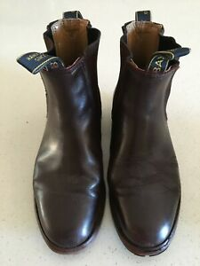 BAXTER Unisex Leather Boots Elastic Sides Resoled Handcrafted Dark Brown Men's 8