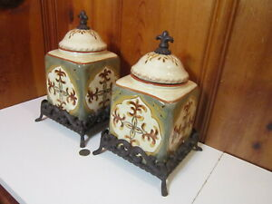 2 Artimino Tuscan Countryside Sienna Kitchen Canister Set Metal Stand Base EUC