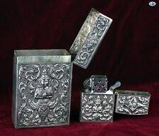 Antique Siam Asian Thailand Sterling Silver Cigarette Case & Lighter Match Safe