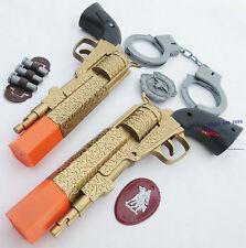 2x Toy Guns Wild Western Gold Dueling Revolver Pistols Set