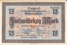 Memel BANCONOTA 75 MARK p8 1922 AU UNC piccolo bordo superiore Nick