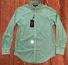 NWT Men's Polo Ralph Lauren 140's 2-ply Green White Stripe LS Shirt Sz M $145