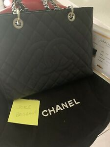 REDUCED - AUTHENTIC Stunning Chanel GST Black Caviar Leather W/Receipt
