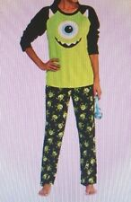 Womens Monsters Inc pajamas XL 16-18 Mike 2pc Fleece Set Black Green New