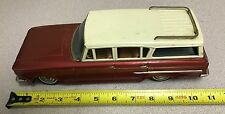 Vintage Bandai Rambler Tin Toy Station Wagon Car - Red with White Top / Friction