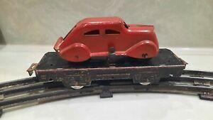 Very rare 1939 HTF Red Chrysler Airflow 6in tin Marx O-Gauge Autohauler w/ Car