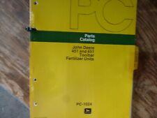 John Deere 451 651 Toolbar Fertilizer Unit Parts Catalog Manual Original Pc-1024