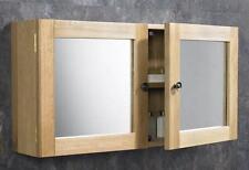 75cm x 38cm Solid Oak Wall Mounted Double Door Bathroom Mirror Cabinet Storage
