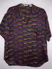f0b3c49d56b Tahari sz 8 Colorful Silk Short Sleeve Button Front Blouse
