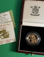 1992 Great Britain Proof Gold Sovereign Coin in Original Gov't Package & COA