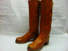 VTG 60's Womens 8 FRYE Cognac Leather Square Toe Campus Hippie Knee High Boots