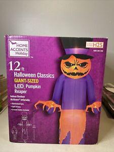 12' Gemmy Airblown Inflatable Halloween Pumpkin Reaper w/ Top Hat Yard Decor