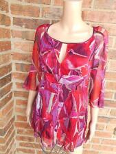 DIANE VON FURSTENBERG 100% Silk Blouse Size P S Keyhole Top Shirt 3/4 Sleeve DVF