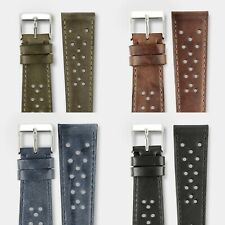 Genuine Leather Perforated Racing Rally Watch Strap band Handmade in Italy