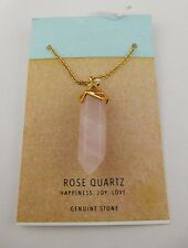 Rose Quartz Gold Tone and Pink  Pendant Necklace Msrp $80.00 *NEW*