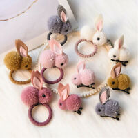Kawaii Kids Ponytail Holder Girls Pompom Ball Rabbit Hair Band Ties Rope Ring