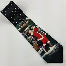 Christmas Mens Tie Santa Claus Playing Golf Navy Blue Xmas Stafford Made in USA