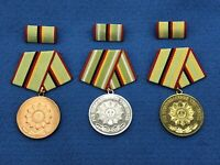 Vintage East German Police Achievement Medals Set - 3 Medal BSG Lot - Unissued!