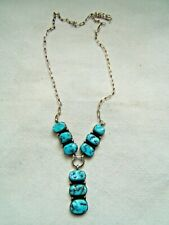 NAVAJO STERLING SILVER PENDANT NECKLACE TURQUOISE VERY NICE