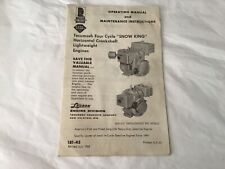 Operating manual and maintenance instructions TECUMSEH Snow King engine 1963