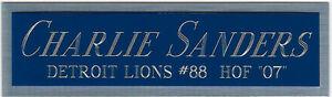 CHARLIE SANDERS LIONS NAMEPLATE AUTOGRAPHED SIGNED FOOTBALL HELMET JERSEY PHOTO