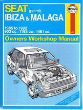 SEAT Ibiza & MALAGA BENZINA 1985-1992 proprietari OFFICINA manuale haynes