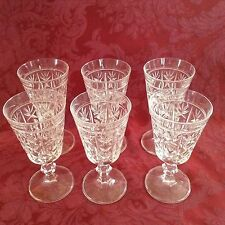 RCR Royal Lead Crystal Rock London Pattern Claret Wine Glass Glasses~Cut X and O