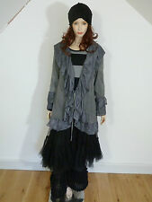 Escaladya lagenlook grey long sleeved frilly shrug with tie fastening size 1